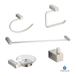 Fresca - Fresca Ottimo 5-Piece Bathroom Accessory Set - This Fresca Ottimo 5-Piece Bathroom Accessory Set is the perfect package to finalize your powder room. With great looking accessories that will complement everything else in your bathroom, the Fresca Ottimo Accessory Set is the best way to save money and make your bathroom look great! This set includes a towel bar, soap dish, toilet paper holder, towel ring and robe hook.