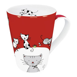 Konitz - Set of 4 Mugs Globetrotter Cat - The many moods of animals delight us. Charming animal illustrations make these adorable mugs in bright colors your steady companion for coffee, tea, or hot chocolate. Playful cat mugs feature lovable cat characters.