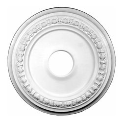 Renovators Supply - Ceiling Medallions White Urethane Ceiling Medallion 24 3/8 '' Dia - Ceiling Medallions: Made of virtually indestructible  high-density  urethane our medallions are cast from  steel molds  making them the highest quality on the market. Steel molds provide a higher quality result for  pattern consistency, design clarity & overall strength & durability.  Lightweight they are  easily installed  with no special skills. Unlike plaster or wood urethane is resistant to  cracking, warping or peeling.   Factory-primed  these medallions are ready for finishing. NOTE: Images medallions with a center opening may not be represented to scale, appearing larger or smaller than they actually are.