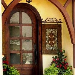 """Entry Doors - 1-3/4"""" thick custom alder door with wavy glass."""