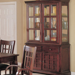 Coaster - Newhouse Collection Hutch & Buffet (China) in Cherry - Create a fantastic setting for dining in your home with the elegant Newhouse collection, in a warm Cherry finish over birch veneers that will blend beautifully with your decor.
