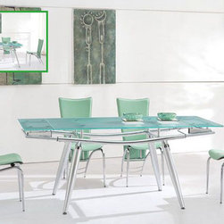 Extendable Rectangular Frosted Glass Top Modern Dining Set - Modern metal and glass constructed convenient dining room set. The Dining Room Set is manufactured in contemporary style. With its confident design and practicability, this ultimate dining room set will add convenience into your dining room and refresh the house setting.