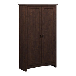 Bush - Bush Buena Vista 2 Door Tall Storage Cabinet in Madison Cherry - Bush - Storage Cabinets - MY1389703 - Fits in beautifully in any home or office. Simple styling and elegant design of the Bush Furniture Buena Vista Madison Cherry 2-Door Tall Storage takes up little floor space but offers plenty of concealed holding space. Two large tall bays handle big or small storage needs from books to printers or supplies for total functionality. Spacious dual-adjustable shelves shift up and down. One fixed shelf provides extra stability. Enclosed by two doors with aged bronze-metal door hardware. Elegant post leg design and curved base-rails add a splash of panache. Works at home as a storage cabinet or in an office as a combination bookshelf and storage unit. Small footprint allows room-placement flexibility. Sophisticated look and sleek lines complement any d��cor. Surface and edges resist nicks scratches and stains. Rugged construction provides long life. Backed by the Bush Furniture 1-year Manufacturer's Warranty.