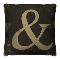 Conjunctions Pillow - When you have more to say, say it with the Conjunctions Pillow. The industrial-inspired throw pillow features a distressed style detailing, giving it a chic reclaimed look. Pair this edgy ampersand motif pillow with the To the Point Pillow for a modern play on typography.