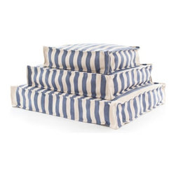 Fresh American - Trimaran Stripe Indoor/Outdoor Woof, Denim, Medium - The Fresh American Trimaran Stripe Indoor/Outdoor Wouf is made of durable polypropylene with polystyrene beads-perfect for the porch,patio,pet beds,kid's room,and even the boat.