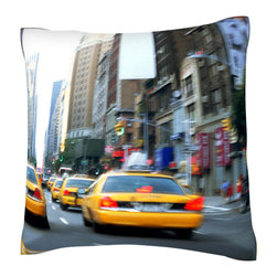 Custom Photo Factory - Taxis on the street in New York city   Polyester Velour Throw Pillow - Taxis on the street in New York city  18 x 18 Inches  Made in Los Angeles, CA, Set includes: One (1) pillow. Pattern: Full color dye sublimation art print. Cover closure: Concealed zipper. Cover materials: 100-percent polyester velour. Fill materials: Non-allergenic 100-percent polyester. Pillow shape: Square. Dimensions: 18.45 inches wide x 18.45 inches long. Care instructions: Machine washable