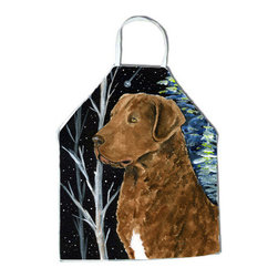 Caroline's Treasures - Starry Night Chesapeake Bay Retriever Apron SS8411APRON - Apron, Bib Style, 27 in H x 31 in W; 100 percent  Ultra Spun Poly, White, braided nylon tie straps, sewn cloth neckband. These bib style aprons are not just for cooking - they are also great for cleaning, gardening, art projects, and other activities, too!