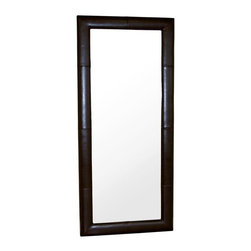 Wholesale Interiors - Leather Rectangular Mirror in Dark Brown - Dress up your home decor with this handsome mirror features a dark brown leather frame. Meticulously handcrafted leather frame with detail panel stitching. This unique octagon shape wall mirror is a must have for any contemporary style home or office. Frame constructed of hardwood features lightly padded durable polyurethane coated leather for longer lasting use and stain resists for easy clean up. This wall mirror will add charm to any home or office decor.