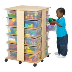 Kydz 24 Tray Cubbie Tower - The Kydz 24 Tray Cubbie Tower is sure to become the epicenter of your kid's play city. A host of patented features make Jonti-Craft a leading manufacturer of children's furniture. The 24 optional plastic tubs can be moved easily to any location supported by its multiple smooth-rolling casters, mounted on specially engineered corner brackets for extra reinforcement. The storage cubbie itself is constructed using superior dowel-pin construction, with all edges fully rounded for maximum safety. Colorful, moisture-resistant edgeband is attached by a thermo-fusing process that ensures secure bonding. Each of the 24 Jonti-Craft individual storage tubs is light, durable, and easy to pull. They are available in your choice of multi-colored plastic, clear plastic, or no tubs for an open shelving system. The entire storage measures 27W x 27D x 40.5H inches. The KYDZ Tuff finish is a UV-protective finish and won't stain or yellow, It's made of the same scratch-resistant protection used on gymnasium floors. Located in Wabasso, Minn., Jonti-Craft is the leading manufacturer of quality learning products for children. Carefully designed birch wood material, patented KYDZ products, and Rainbow Accents thermo-fused laminates ensure that every item of furniture bearing the Jonti-Craft name is built and guaranteed for life. Employing only the strongest construction techniques, as well as rounding and protecting all edges and corners, Jonti-Craft maintains the highest safety standards. Commitment to building safe, high-quality, sustainable furniture for the children of the world continues to make the Jonti-Craft difference.
