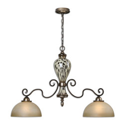 Cheetah Animal Print Malawi 2 Light Kitchen Island Light - *Lightly Burnished Cheetah Print Over Ceramic Accented With Gracefully Curved Arms Finished In Heavily Antiqued Silver And Lightly Stained Frosted Glass Shades.