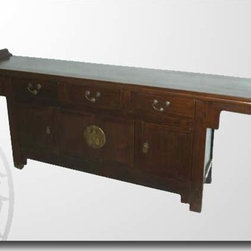 Asian Antique Furniture - RAB 24 Chinese Antique Natural Sideboard with Everted Ends