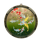 China Furniture and Arts - Gold Leaf Prosperity Koi Wall Plaque - The picture of nine koi symbolizes prosperity and good luck in Chinese culture. This wooden wall plaque is hand painted on a gold leaf background with an elegant black and floral motif boarder to round out its quiet beauty. A brass hanger is included.