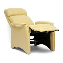 Wholesale Interiors - Sequim Modern Recliner Club Chair - Contemporary style. Steel frame and mechanism. Polyurethane foam cushioning. Black plastic feet. Wipe clean with dry cloth. Made from PU faux leather and wood frame. Tan color. Assembly required. Overall: 32.25 in. W x 27.9 in. D x 46.9 in. H (61.95 lbs.). Reclined: 57.5 in. W x 27.9 in. D x 46.9 in. H (61.95 lbs.)Lovely tan faux leather and intricate detailing make our Sequim recliner a star. Perfect as a living room chair, den chair, club chair, or accent chair, versatility is the name of the game. To recline, brace yourself by gripping the armrests and pushing backward on the chair's backrest. This will also cause the chair's footrest to extend.
