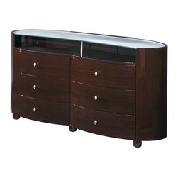 Global Furniture - Global Furniture USA Emily 6 Drawer Dresser in Wenge - The Emily Bedroom Collection is finished in a High Gloss Wenge.  The rich color and elegant curves will compliment any home.  Not only is this bedroom collection stylish but it also provides ample storage.