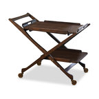 Kathy Kuo Home - Cooper Hollywood Regency Modern Rolling Bar Cart - Inspired by an unusual, 1960s bar cart, this two-tiered vintage piece inspires nostalgia and serves up style to spare. The fine wood finish is detailed with antique brass hardware and four pivoting brass wheels. The top tray is removable for serving breakfast in bed or offering refreshments on the veranda.
