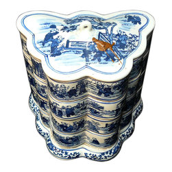 Golden Lotus - Porcelain Blue & White Butterfly Shape Stack Candy Box - This is a stylish elegant decorative accent for the modern home. It can become a few dishes for candy or accessories display. When all stack together, it is a home decoration charm.