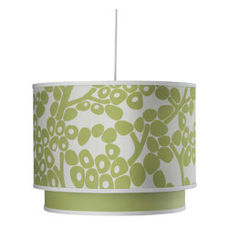 Oilo - Modern Berries Double Cylinder, Spring Green - Cast a warm and playful glow on any room with this double drum pendant. The crisp white cord allows you to adjust the length up to 55 inches and a white acrylic sheet diffuses the light, resulting in a soft and flattering illumination. This would be a great modern look over a kitchen table.