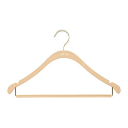 Clos-ette Too - The Signature Slim Shirt Hanger w/ Bar, Nude w/ Brass - Our Signature Slim Shirt Hangers with Bar are flocked in a velvety non-slip material, ensuring your garments stay put. A skinny, 1/5 profile is thin enough to save space, but durable enough to handle the heaviest clothing. And because we use the highest quality composites and fabric, our clothing hangers never snap, unlike other brands on the market. We guarantee youll find our hangers to be longer lasting and better for your clothes than the competition. Multi-use design ideal for pants, shirts, blouses, dresses, and spaghetti-strap garments. Rounded, flocked bar for creaseless, non-slip hanging. Rounded shoulders preserve garment shape. 18 width and super-durable composition stands up to heavy and broad-shouldered garments as well as any wooden hanger. Shorter vertical drops maximize vertical space in your closet.