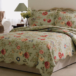 None - 'Eden's Garden' 3-Piece Quilt Set - Sleep in comfort and style with these beautifying quilt sets. The comforter and shams are 100 percent cotton and machine-washable. Floral and leaf designs in quiet shades of pink,green,blue,and beige add a soothing element to your bedroom decor.
