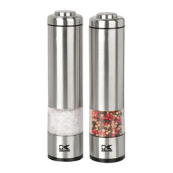 Kalorik - Modern Salt and Pepper Mills - These salt and pepper grinders are modern and sleek. They're stylish enough to keep out on the counter or kitchen table. Your family or guests can season their food with just the simple press of a button.