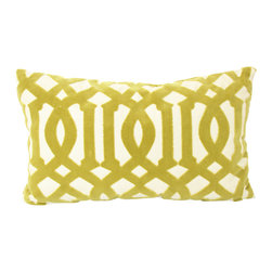 The Pillow Studio - Chartuese Velvet Imperial Trellis Fretwork Lumbar Pillow Cover- Both Sides - This gorgreous velvet Imperial Trellis fabric by F Schumacher has great color, pattern and texture- it is the perfect fabric to splurge on for a pillow.