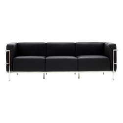 LexMod - Le Corbusier Style LC3 Sofa in Genuine Black Leather - Urban life has always a quandary for designers. While the torrent of external stimuli surrounds, the designer is vested with the task of introducing calm to the scene. From out of the surging wave of progress, the most talented can fashion a forcefield of tranquility.