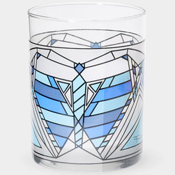 Frank Lloyd Wright Blue Butterfly Tumbler - When it's time for after-dinner drinks, impress your guests with these Frank Lloyd Wright–inspired tumblers.