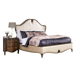 "American Drew - American Drew Jessica McClintock 6-Piece Leather Bedroom Set in Mink - Welcome to the Jessica McClintock Home, by American Drew. This collection combines the romantic elements of Jessica into a ""New Traditional"" styling. This collection truly captures the past, present and future Welcome to the Jessica McClintock Home, by American Drew. This collection combines the romantic elements of Jessica into a ""New Traditional"" styling. This collection truly captures the past, present and future together. The combination of materials such as fine veneers, marble, leather and mirror, the dramatic serpentine and bowed shapes, he use of elements from fashion and nature, and the custom, jewelry-like hardware all add a unique flare to this collection that is like nothing before. This collection is crafted from highly figured Walnut Veneers, Prima Vera and Maple Marquetry in a Mink finish. A Silver Leaf finish is offered on select pieces, giving them a soft, veiled-platinum appearance. Unique pieces abound in Jessica McClintock Home. The Antiqued Mirror Leg Dining Table, the Silver Leafed Leather Bed with Crystal-like buttons, the Dressing Armoire and Silver Leaf Serpentine Chest all create beautiful focal points in every room of your home. Gracious scaled items, eclectic mixture of materials and designs and the romantic touch of Jessica come together to create a collection of furniture that will add a high end style to any home."
