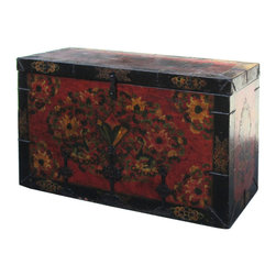 Golden Lotus - Large Tibetan Lotus Flower Iron Hardware Wooden Trunk - This is an old wooden trunk in Tibetan graphic finish. The mineral pigment is grounded color powder which is mixed with oil to create a long last color on the trunk surface. The theme is original Tibetan flower pattern and treasure animals. And iron hardware is used around the corner to enhance characteristic.
