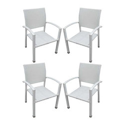 Modway - Bella Patio Chairs Set of 4 in White - Relax in confidence, as you effortlessly unite diverse forces to take center stage. Wealth and success surround you and draw attention to greater heights. This outdoor wicker dining chair has a sturdy aluminum frame covered with a white rattan weave.