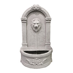 Vandue - Modern Home Courtyard Lion's Head Wall Mount/Floor Waterfall Fountain - Our exclusive design! Modern Home brings you an exquisite piece for your home. Entirely constructed of lightweight concrete with a perfect patina finish, each fountain will add beauty and elegance to your home's courtyard, patio or anywhere else you may way to place it. It's unique design allows you to mount it on the wall or place it on the ground. Perfect indoors or outdoors. A two-step filtration pump with an intake filter is included with each fountain. When mounted on the wall, this fountain installs in less than 30 minutes.
