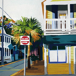 """Corner Of Butterscotch & Blue"" (Original) By Melinda Patrick - Blue Shadows Of Dusk Settle On A Key West Street With Yellow Homes."