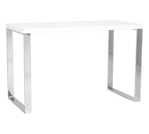 Eurø Style - Dillon White Lacquer/Polished Stainless Steel Desk - With white lacquer top, the desk sits firmly on chromed stainless steel base. Let's get to work with this solid, functional, never-go-out-of-style Dillon Desk!