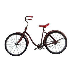 "1950s Roadmaster Bicycle - I want to ride my bicycle̢���_̢���_. This 1950s Roadmaster AMF Bicycle.  This rusted, aged Bicycle has a Red Seat and tons of style!  Wheels aged and some surface cracks, but still rides smooth.  Children's bicycle or small adult bicycle -  note measurements.  This is a decor piece and not intended for use. Measurements: Full Length: 54"" 32.5"" Height to Handle Bars 26.5"" Seat Height 18"" Handle Bar Width 19.5"" Wheel Diameter"
