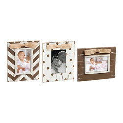 Blossoms & Buds - Brown & White Distressed Frame Set - Featuring a distressed finish, these frames showcase cherished photos while adding rustic charm to the décor.   Includes three frames 7.88'' W x 9.5'' H Holds 4'' x 6'' photos Wood Imported