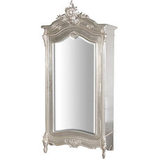 Traditional Dressers Chests And Bedroom Armoires Antoinette Mirrored Silver Armoire