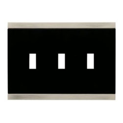 Liberty Hardware - Liberty Hardware 135762 Basic Stripe WP Collection 6.77 Inch Switch Plate - A simple change can make a huge impact on the look and feel of any room. Change out your old wall plates and give any room a brand new feel. Experience the look of a quality Liberty Hardware wall plate. Width - 6.77 Inch, Height - 4.9 Inch, Projection - 0.3 Inch, Finish - Satin Nickel & Black, Weight - 0.53 Lbs.