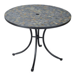 Home Styles - Home Styles Stone Harbor Outdoor Dining Table in Black/Slate - Home Styles - Patio Dining Tables - 560130 - The Stone Harbor Dining Table top is constructed of small square slate tiles in a naturally occurring gray variation.  The table top also features a center opening that can be used for an umbrella or can be closed with the included black cap for a continuous surface.  The cabriole designed base is constructed of aluminum in a Black finish.  Adjustable nylon glides prevent damage to surfaces caused by movement and provide stability on uneven surfaces. Size:  40��� Diameter x 30��� Height