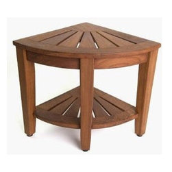 Master Garden Products - Teak Corner Stool with Rack - We offer a full line of  teak shower stools with different designs and sizes to choose from.Teak wood is the only wood that can withstand damp environments making it a perfect addition to your bathroom as it has a high resistance to rotting and molding.  Teak wood grain is uniquely smooth and dense; great for the bathroom.