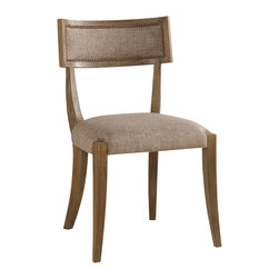"Brownstone - Brownstone Atherton Round Dining Chair Cerused Teak - The Brownstone Atherton dining chair delivers a posh partner to the modern table. Accenting a sleek open frame, rich upholstery and metallic nailheads deliver contemporary complements. 20""W x 23.5""D x 35""H; Cerused teak finish; Textured fabric in hazel; Brass nailheads"