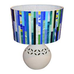 NY MOSAIC ART - Handmade Glass Mosaic Lamp - Handmade glass mosaic colorful table lamp. Stoneware base. Handcut stained glass mosaic shade.