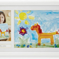 Pearhead Little Artist Frame - What a great way to remember what age your child was when she made a piece of art! This item also makes for a great gift for grandma. The frame displays both the child's artwork and the photo of the child next to it. The frame holds a 4-inch by 6-inch photo.