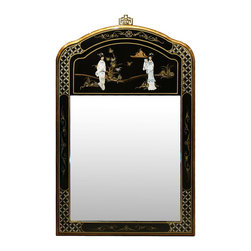 China Furniture and Arts - Black Lacquer Mother of Pearl Mirror - This unique mirror is hand painted with gold highlighted prints on black lacquered wood frame and decorated with mother of pearl dancing figures. Perfect for hallway or powder room. Mounting hardware included.