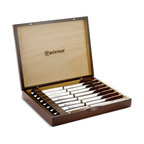 Wusthof - Wusthof 8-Piece Stainless-Steel Steak Knife Set With Wooden Gift Box - Gourmet 8-piece stainless steel steak knife set.  Comes in an elegant rosewood presentation box.  8-18/10 Stainless steel steak knives with serrated edges.  Style#9468