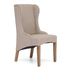 ZUO ERA - Marina Armchair Beige - Here's a classic chair with a modern twist. The fashionable armchair — available in beige or charcoal linen — boasts a traditional wing back design with a contemporary curved base and weathered oak legs. It'll add a modern flair to your living room.