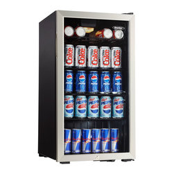 Danby - 3.3 Cu.Ft Beverage Center - 3.3 cu. ft. capacity beverage centre, 120 can capacity, Temperature range of 6C- 14C (43F - 57F), Mechanical thermostat, 3 black wire shelves, Tempered glass door with stainless steel trim, Recessed side mount door handle, Integrated lock with key, Unit dimensions 17 8/16 x 20 1/16 x 32 11/16