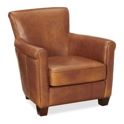Irving Leather Armchair, Stetson Natural - I would love to snuggle into this caramel leather chair and watch the leaves fall outside the window.
