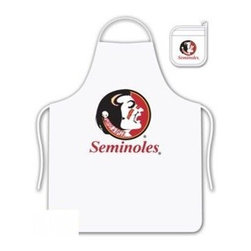 Sports Coverage - Florida State Seminoles Tailgate Apron and Mitt Set - Set includes your favorite collegiate Florida State University Seminoles screen printed logo apron and insulated cooking mitt. White apron with white silver backed mitt. Both items are logoed. Tailgate Kit apron and mit is 100% cotton twill with screenprinted logo.
