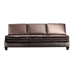 Madera Home - Drake Pewter Velvet Sofa - The Drake sofa is regal and stunning is a rich metallic pewter velvet.  Clean lines and minimal tufting finish the sleek look.