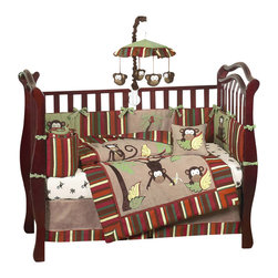 Sweet Jojo Designs - Monkey 9-Piece Crib Bedding Set - The Monkey 9 pc Crib Bedding Set by Sweet Jojo Designs has all that your little bundle of joy will need. Let the little one in your home settle down to sleep in this incredible nursery set. This baby boy bedding set features jungle themed appliqués and embroidery works of monkeys and palm tree scenery. This collection uses the stylish colors of brown, camel, rust, avocado, and yellow. The design uses 100% cotton fabrics combined with minky and microsuede that are machine washable for easy care.  This wonderful set will fit all cribs and toddler beds.